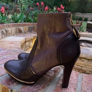 Tory Burch brown leather ankle boots, Sz 8.5